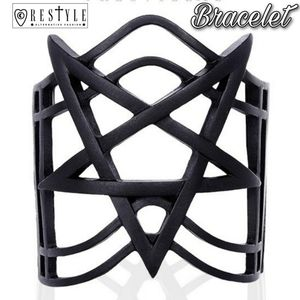 Nugoth Pentagram Black Bangle Gothic Cuff Bracelet